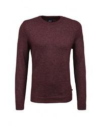 Мужской темно-красный свитер с круглым вырезом от s.Oliver Denim