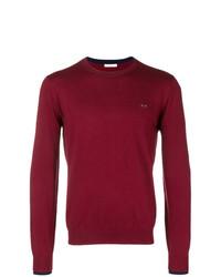 Мужской темно-красный свитер с круглым вырезом от Sun 68