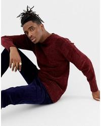 Мужской темно-красный свитер с круглым вырезом от Weekday