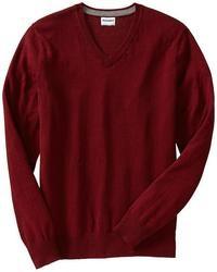 Темно-красный свитер с v-образным вырезом