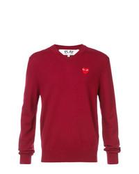 Мужской темно-красный свитер с v-образным вырезом от Comme Des Garcons Play