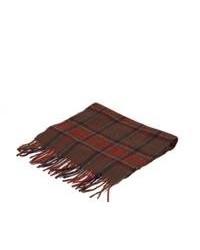 Темно-красный хлопковый шарф в шотландскую клетку