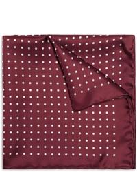 Темно-красный шелковый нагрудный платок в горошек от Drakes