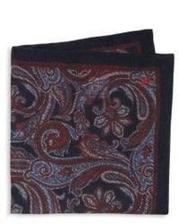 """Темно-красный шелковый нагрудный платок с """"огурцами"""""""