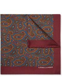 """Темно-красный шелковый нагрудный платок с """"огурцами"""" от Turnbull & Asser"""