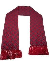 Темно-красный шелковый шарф в горошек