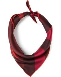 Темно-красный шелковый шарф в клетку