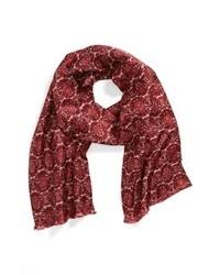 Темно-красный шелковый шарф с принтом