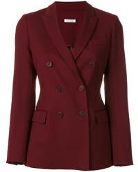 Женский темно-красный шерстяной двубортный пиджак от P.A.R.O.S.H.