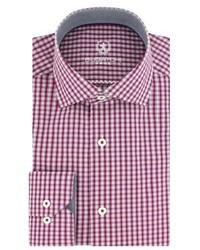 Темно-пурпурная классическая рубашка в шотландскую клетку