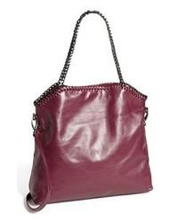 Темно-пурпурная кожаная большая сумка
