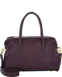 Темно-пурпурная кожаная сумка-саквояж