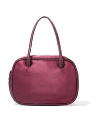 Темно-пурпурная кожаная сумочка