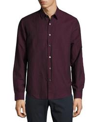 Темно-пурпурная рубашка с длинным рукавом