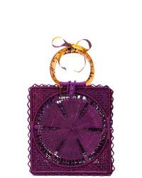 Темно-пурпурная соломенная большая сумка