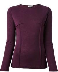 Темно-пурпурная футболка с длинным рукавом