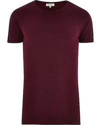 Темно-пурпурная футболка с круглым вырезом
