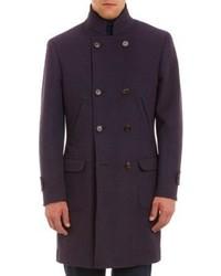 Темно-пурпурное длинное пальто