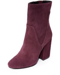 Женские темно-пурпурные бархатные ботильоны