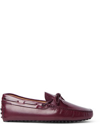 Темно-пурпурные кожаные мокасины