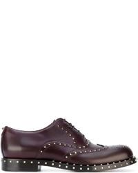 Темно-пурпурные кожаные оксфорды от Valentino