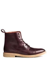 Темно-пурпурные кожаные повседневные ботинки