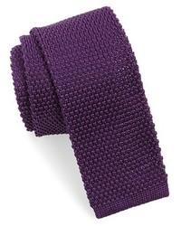 Темно-пурпурный вязаный галстук