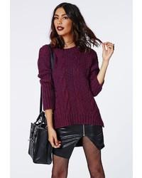 Темно-пурпурный вязаный свободный свитер