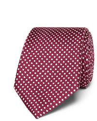 Темно-пурпурный галстук в горошек