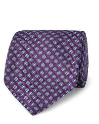 Мужской темно-пурпурный галстук с принтом от Canali