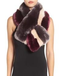 Темно-пурпурный меховой шарф