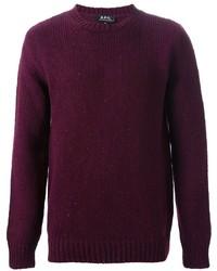 Темно-пурпурный свитер с круглым вырезом