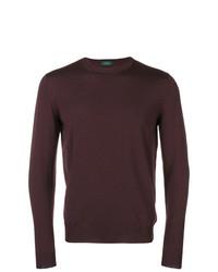 Мужской темно-пурпурный свитер с круглым вырезом от Zanone