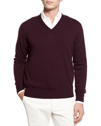 Темно-пурпурный свитер с v-образным вырезом