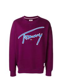 Мужской темно-пурпурный свитшот с принтом от Tommy Jeans