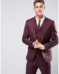 Мужской темно-пурпурный шерстяной пиджак от Asos