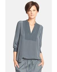 e0009e74f41 Серая меховая безрукавка Темно-серая блузка с длинным рукавом