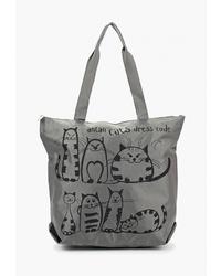 Темно-серая большая сумка из плотной ткани с принтом от Antan