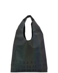 Темно-серая большая сумка из плотной ткани с принтом от Maison Margiela