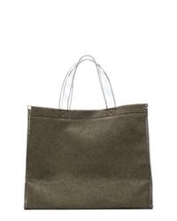 Темно-серая большая сумка из плотной ткани от MM6 MAISON MARGIELA