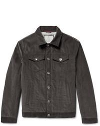 Темно-серая вельветовая куртка с воротником и на пуговицах