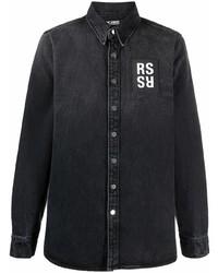 Мужская темно-серая джинсовая рубашка с принтом от Raf Simons
