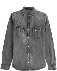 Темно-серая джинсовая рубашка