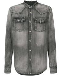 Мужская темно-серая джинсовая рубашка от Balmain