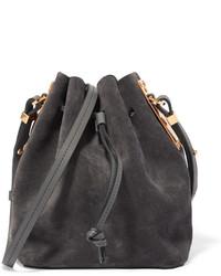 Темно-серая замшевая сумка-мешок