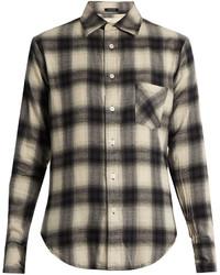 Темно-серая классическая рубашка в шотландскую клетку