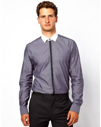 Темно-серая классическая рубашка из шамбре