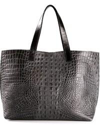 Темно-серая кожаная большая сумка со змеиным рисунком