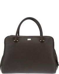 Темно-серая кожаная большая сумка