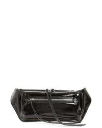 Темно-серая кожаная поясная сумка
